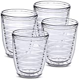 4-pack Insulated 12 Ounce Tumblers - Drinking Glasses Made in USA - Clear (12oz Insulated Cups)