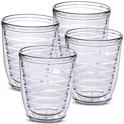 Clear 4-pack 12 oz Insulated Tumblers, Made in the USA, Great for Iced & Hot Drinks, 12 ounce Double Walled Drinking Cups, Premium Tritan Tumbler by Homestead Choice
