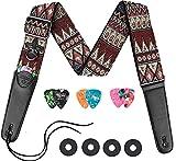 Correa de guitarra LEKATO con extremos largos de cuero + 6 púas de guitarra + 2 cierres de correa para bajo, guitarras eléctricas y acústicas