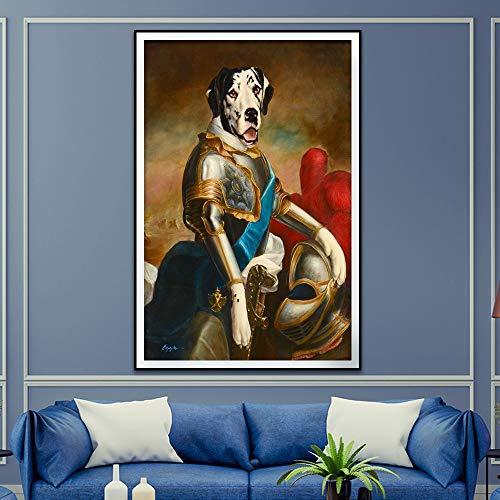 Geiqianjiumai Estilo Retro decoración del hogar Animal Lienzo Pintura Ciervo Gato Perro Retrato póster impresión nórdico Mural Dormitorio Imagen sin Marco Pintura 50x70 cm