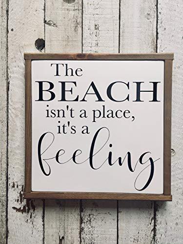 Ced454sy Het strand is niet een plaats Het is een gevoel Houten Teken Kleine Grootte 12 x 12 Handgeschilderde Houten Teken Boerderij Stijl Kustdecoratie Aanpasbaar