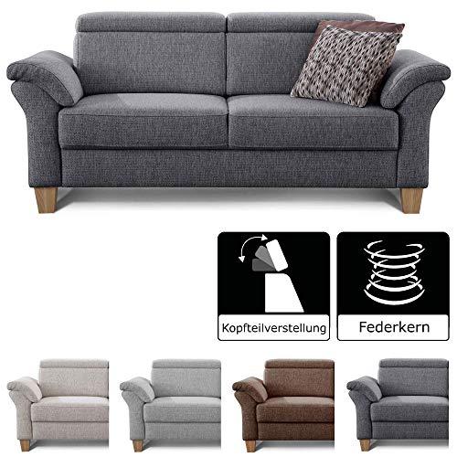 Cavadore 3-Sitzer Sofa Ammerland / Couch mit Federkern im Landhausstil / Inkl. verstellbaren Kopfstützen / 186 x 84 x 93 / Strukturstoff grau