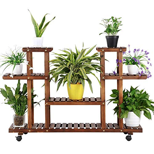 4-Layer Wooden Rolling Flower Plant Display Now $39