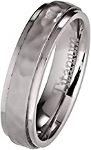 MJ Metals Jewelry 5mm or 7mm Hammered Titanium Wedding Band Recessed Edges Comfort Fit Ring
