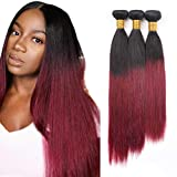 99J Ombre Borgoña Cabello brasileño Recto 3 paquetes Straight Hair 9A Grado Vino Rojo Extensiones de cabello humano 100 g/pcs 22 24 26 pulgadas 1B/Borgoña