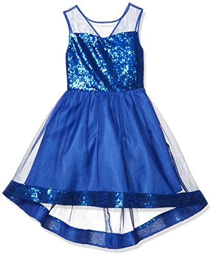 Amy Byer Girls Dress with Illusion Bodice and Sequin Hem neon Cobalt 7 product image