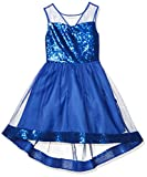 Amy Byer Girls' Dress with Illusion Bodice and Sequin Hem, neon Cobalt, 7