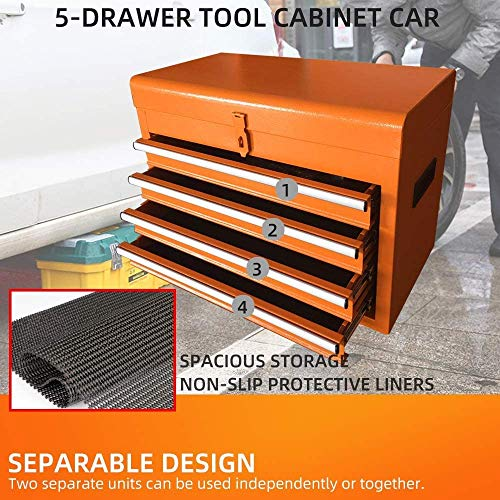 5-Drawer Rolling Tool Chest Portable Removable Tool Cabinet, Tool Storage Box Big Tool Chest with 4 Wheels and Sliding Metal Keyed Locking System Drawers (Orange)
