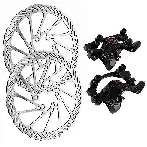 HUOFU Bike Disc Brake Kit, Front Rear Disc Rotor Brake Kit for MTB Bicycle, Aluminum Alloy Calipers, 160mm Disc Brake Rotor for Road Bike, Mountain Bike