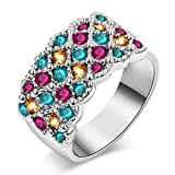 Anillo de acero inoxidable para mujer, diseño de arcoíris de cristal neutro para fiestas, tamaño: 8, 6