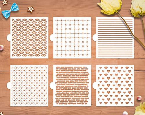 GSS Designs Keksschablonen, 6 Stück, lebensmittelechte Vorlagen zum Dekorieren und Backen, Ziegel, Wellen, Herzen, Lineal (SL-058)