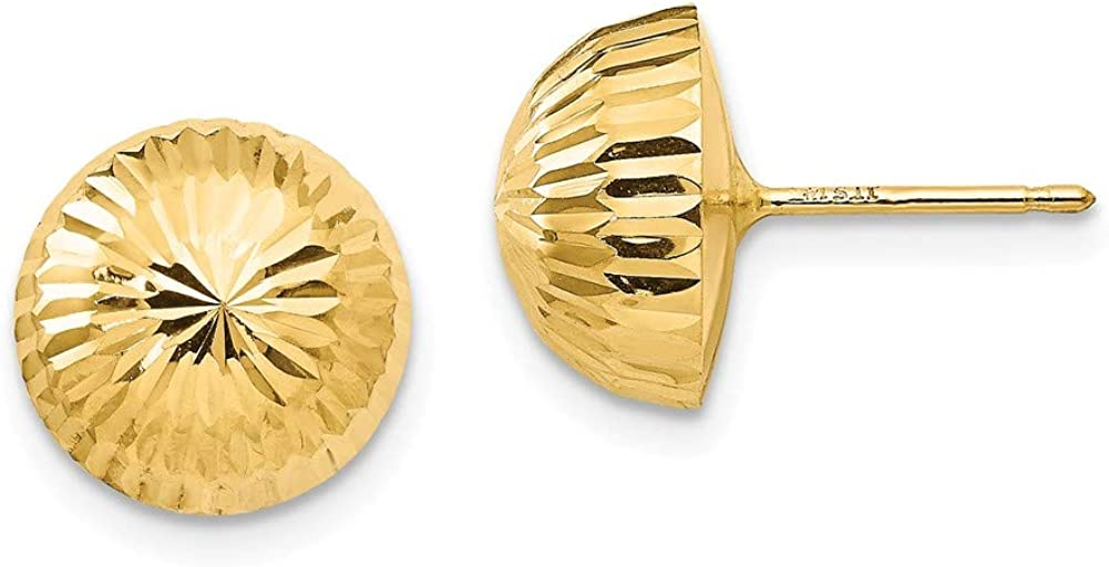 Black Bow Jewelry 10mm Diamond-cut Half-Ball Post Earrings in 14k Yellow Gold