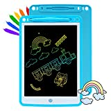 QDH LCD Writing Tablet for Kids 10 Inch Blue Writing Board Toddler Doodle Pad Colorful Drawing Graffiti Tablets Portable Scribbler Boards Light Drawing Pads for 3 4 5 6 Year Old Boys Girls