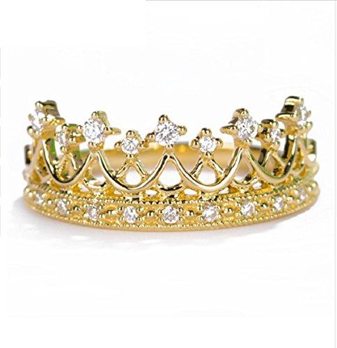 Gowe elegante principessa corona anello in oro vero diamante fidanzamento anello