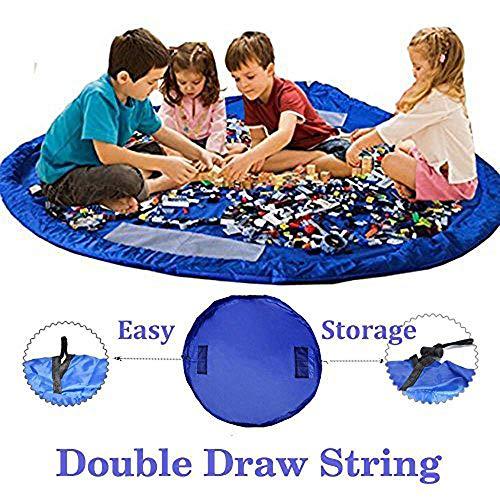 BigNoseDeer Children Play Mat bebé Plegable Bolsa de Almacenamiento de Juguetes de los niños del Juguete del niño Alfombra Organizador de 60 Pulgadas (150 cm) (Azul)