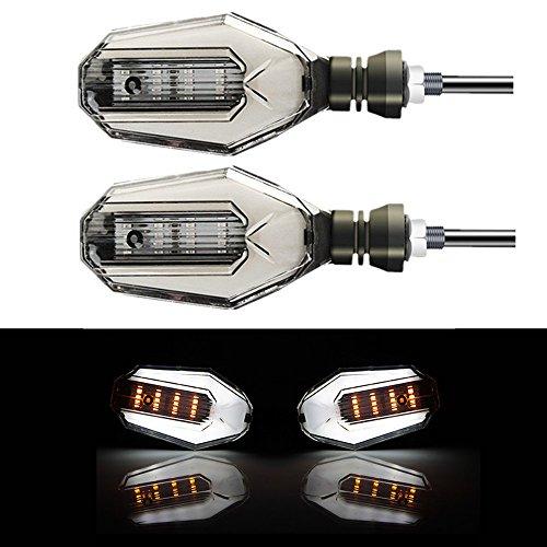2x Moto Clignotants LED Lumière DRL Jour Courant Lampe DC 12V Étanche Universel