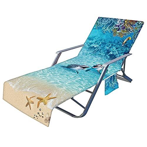 Fansu Oceano Telo Mare per Lettino da Spiaggia, Microfibra Portatile Asciugamano Mare con Tasche,...