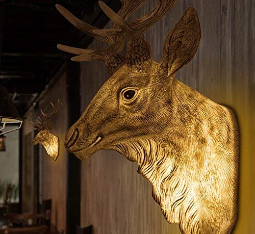 Preisvergleich Produktbild Kreative Persönlichkeit Hirsch Kopf Wand Lampe Wohnzimmer Esszimmer Wand Geländer KTV Bar Nordeuropäisches Geweih Wandlampe Bronze Antik