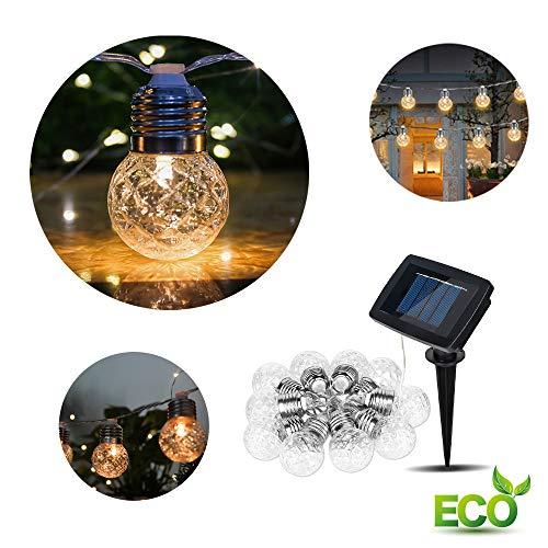 LED Solar Lichterkette Glühbirnen, Morbuy Kugel Ananas 10 / 20LED Außen Garten Deko Wasserfest 2 Modi Außerlichterkette für Terrasse Hof Innen Haus Weihnachtsbaum Feiern (4m / 10LED)