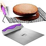 Kuchenheber dünne Edelstahlplatte mit Griffmulde Tortenhebeblech Kuchen Retter für Torten