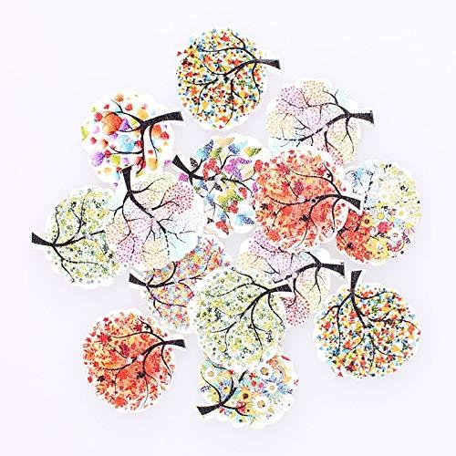 25/50/100 stücke Mischbäume 2Hole Holzknöpfe DIY Dekor for Kind Kleidung Nähen Tasten Handwerk Scrapbooking Zubehör (Color : 25pcs)