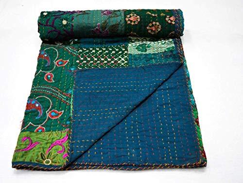 Marusthali Indische handgefertigte Baumwolle Kantha Quilt Wurfdecke Tagesdecke Gudari Vintage Cotton Double Quilts 90 X 108 Zoll