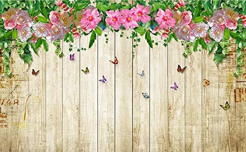 Papel Pintado Fotomurales 3D Habitacion Dormitorio Salon Tv Fondo Decoración Murales Empapelar Mariposa Flor Rosa Floral Tablero De Madera 300cmx220cm