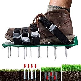 YushengTai Lawn Aerator Shoes – Aérateur de gazon – Semelle de 30 cm de long – Scarificateur manuel