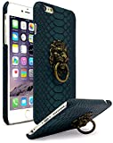 iPhone 6 Plus Case, Bastex Ultra Slim Fit Protective Vintage Rock Lion Head Door Knocker, with Blue Gator Skin textured PU Leather Fashion Hard Back Cover for Apple iPhone 6s Plus