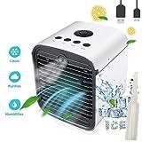 Nifogo Air Mini Cooler Luftkühler - 3-In-1 Mobile Klimageräte, Luftbefeuchter, Luftreiniger & Tischklimaanlage Ventilator mit 7 Farben LED-Licht, Leakproof New Filter (Weiß)