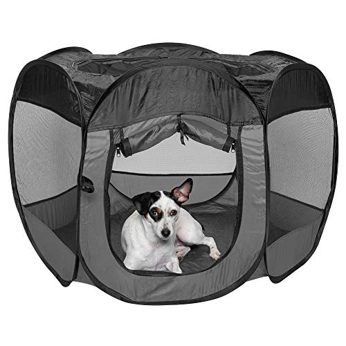 Furhaven Pet Playpen - Indoor-Outdoor Mesh Open-Air Playpen and Exercise Pen Tent House Playground for Dogs and Cats, Gray, Medium