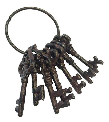 zeitzone Deko Schlüsselbund Nostalgie 7 Schlüssel Gusseisen Vintage Antik-Stil Braun