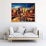 Pintura abstracta de la noche de Praga impresa en lienzo póster de paisaje moderno cuadro de arte de pared para sala de estar decoración del hogar 60x80cm sin marco