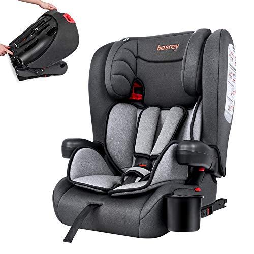 besrey Seggiolino bambini Seggiolino Auto con Isofix, Poggiatesta Regolabile, per Bambini, Gruppo 1/2/3, 9-36 Kg- grigio