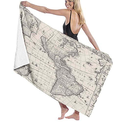 Grande Suave Toalla de Baño Manta,Imagen del Mapa Antiguo de América en el Mundo de 1600 en época Medieval Tema de la era Antigua,Hoja de Baño Toalla de Playa por la Familia Viaje Nadando,52' x 32'