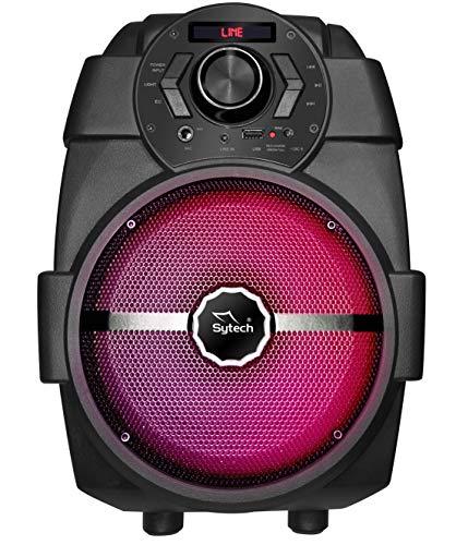 Sytech SY-XT13BTAPK - Altavoz Portátil Inalámbrico Bluetooth con Batería Recargable, Pantalla LED, 10W, Radio FM, USB, Color Negro