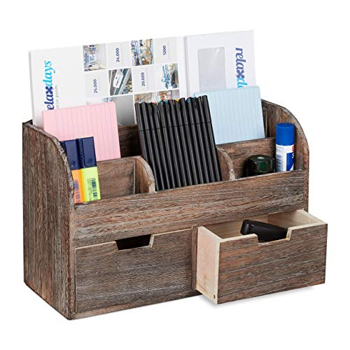 Relaxdays Organizer Schreibtisch, 6 Fächer, 2 Schubladen, Büro, Dokumentenhalter aus Holz, HBT 25x36,5x15cm, dunkelbraun