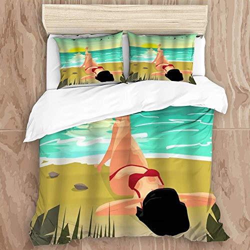 SUPERQIAO Juego de Funda nórdica, Summer Beach Palms Private Sunset Mujer en Bikini Rojo Tomando el Sol, Juego de Cama Decorativo de 3 Piezas con 2 Fundas de Almohada