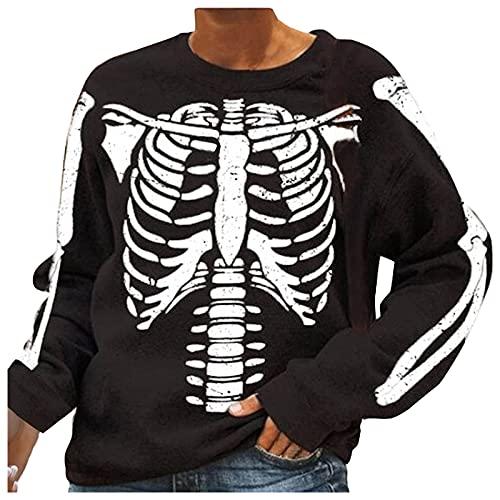 SoeHir Womens Halloween Skeleton Sweatshirt Loose Bone Print Crewneck Long Sleeve Pullover Tops