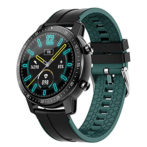 Reloj inteligente Pantalla a color de 1.3 pulgadas,deportes y sueño Pulsera inteligente,Monitor de frecuencia cardíaca,smart watch Compatible para teléfonos Android e iOS(Size:un tamaño,Color:verde)