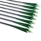 31.5 Pulgadas De Fibra De Carbono Con Identificación De Flecha De 6.2 Mm Con Plumas De Pavo Reales De 5 'Para Arco Recurvo, Arcos Largos Tradicionales, Accesorios De Caza (Paquete De 12),Verde