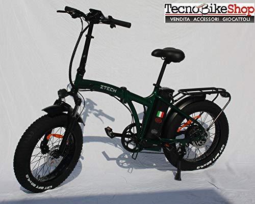 Tecnobike Shop Bici Bicicletta Elettrica Pieghevole Z-Tech Folding Etna 500W 36V Telaio Dritto ZT-89-C Fat Bike eBikee (Verde)