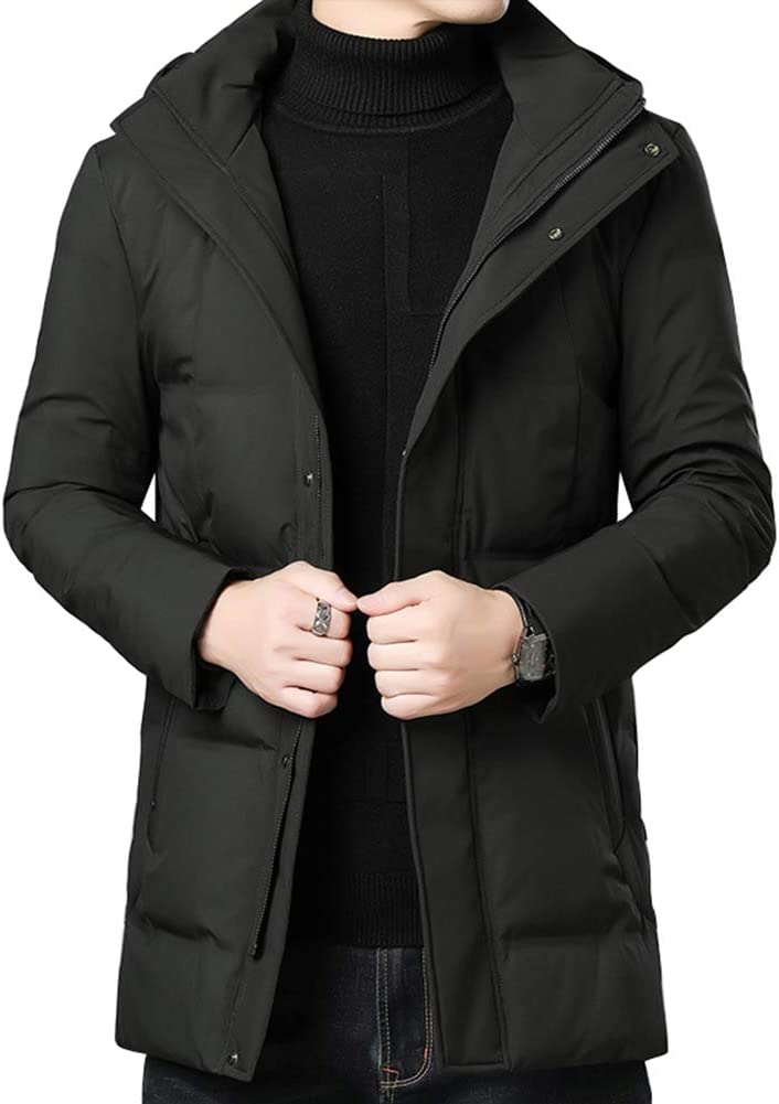 Down jacket Short Paragraph Men's, Middle-Aged Men's Hooded Thicken Winter Warm Winter Coat, Filling: 90% Gray Duck Down (M, L, XL, 2XL, 3XL)