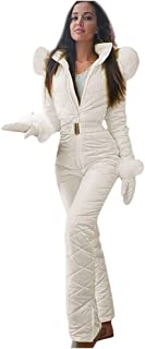 LATINDAY ✿ One Ski Suit Women Solid Color Snowsuit Winter Outdoor Waterproof Insulated Coverall Suit