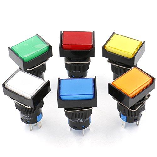 Heschen 16 mm rechteckiger Druckknopfschalter 1NO 1NC rot blau gelb weiß grün orange 24 V LED Lampe