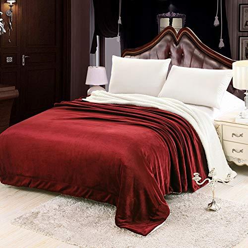 YZT QUEEN Bedding wollen deken sprei warme effen kleur lamsdeken dubbele dikke flanellen deken super zachte zachte warme microvezel deken