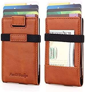 Purfit Design Minimalist Wallet  Genuine Leather Slim Wallet Front Pocket Mini Wallet For Cards and Cash with Money Band Clip & RFID Blocking (Black)