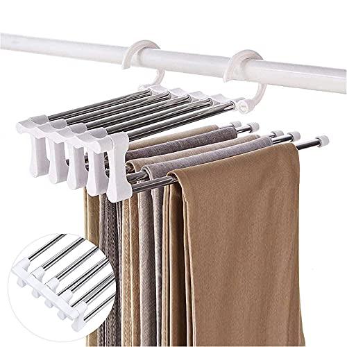 Xnuoyo Perchas Pantalones Multiple, Perchas Multifuncionales, 5 en 1 Percha Ropa Multiple Organizador Armario Ropa, Antideslizante Plegable Estante Jeans para Bufandas Faldas Pantalones Corbatas