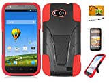 ZTE Speed N9130, LF 4 in 1 Bundle - Hybrid Dual Layer Case with Stand, Stylus Pen, Screen Protector & Wiper For (Boost Mobil) ZTE Speed N9130 (Stand Red)