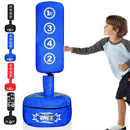 ONEX Free Standing Boxing Punching Bag Stand For Kids Target Heavy Duty Punch Bags Kickboxing MMA Martial Arts Sports Pads Dummy Gym Equipment for Home (M1 Blue)